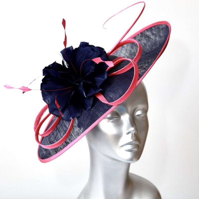 Beautiful navy and hot pink Mother of the Bride/Groom hatinator