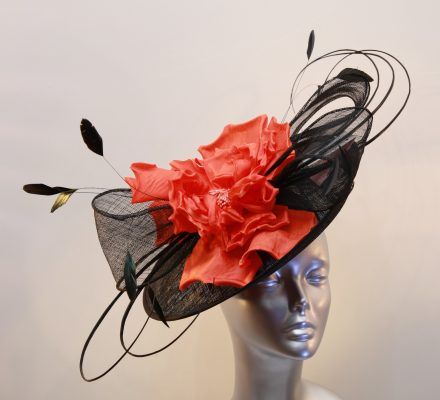Black and Orange mother of the bride or raceday hatinator
