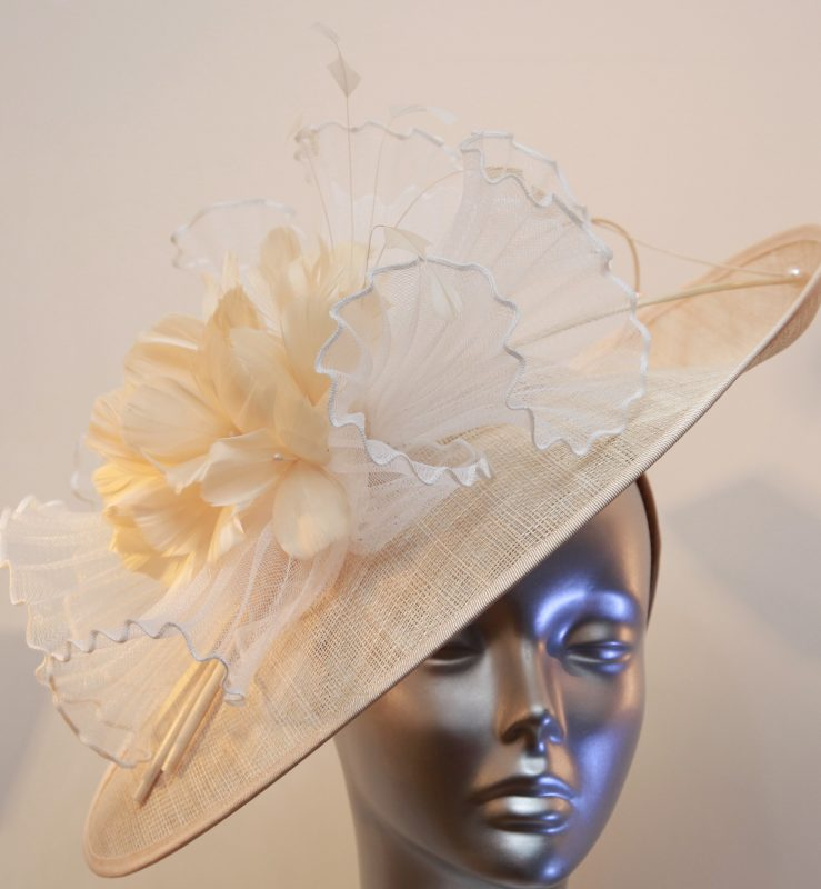 Cream and gold mother of the bride hatinator