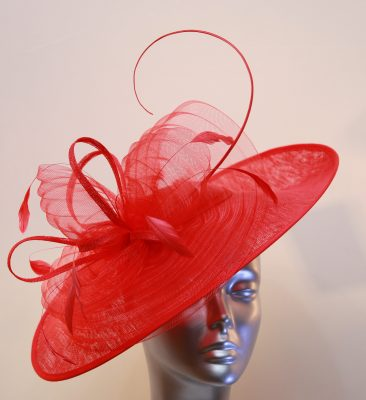 Red ladies hats and fascinators
