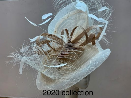 Ivory and Almond mother of the bride hatinator, created to match her gorgeous Veni Infantino outfit