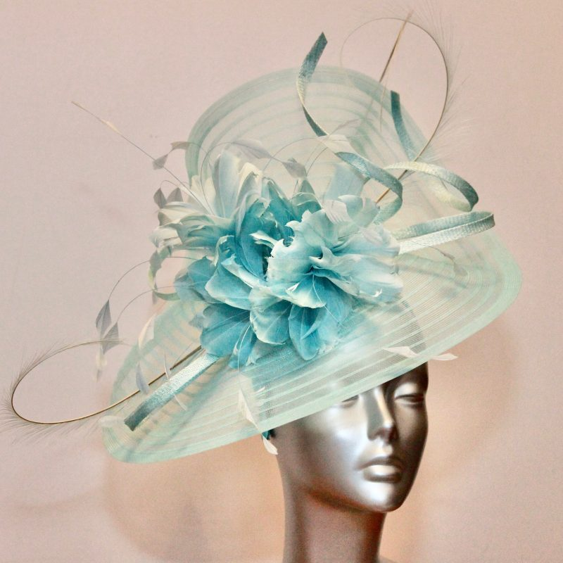 Metallo Blue crin mother of the bride/groom hatinator lavishly trimmed with feather flowers
