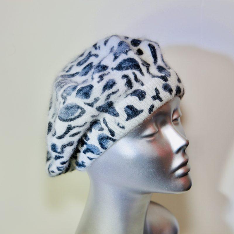 Leopard print baker boy hat